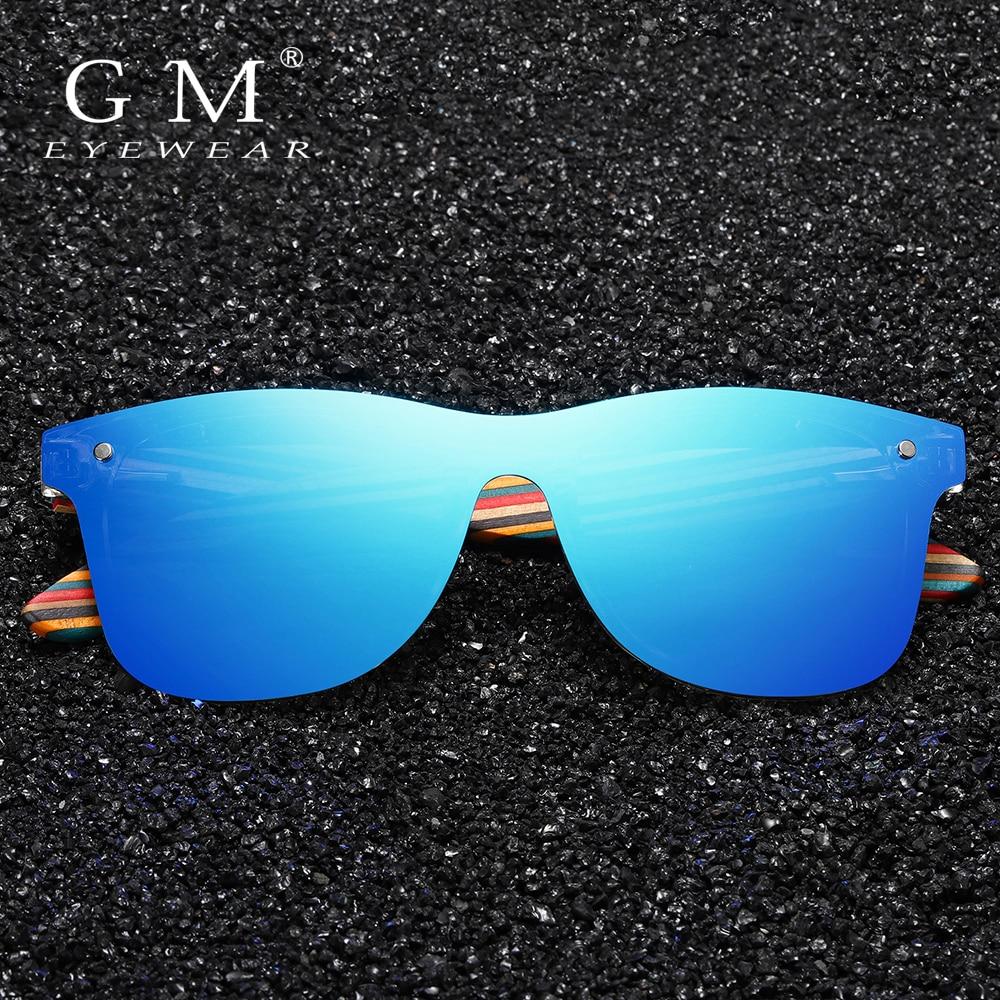 GM Rimless Polarized Wood Sunglasses Women Square Frame UV400 Sunglasses Men Sunglasses Male oculos de sol Feminino