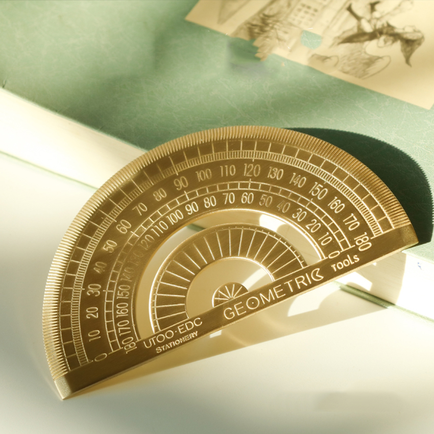 Brass Golden Retro Semicircle Protractor Math Protractors 180 Degree Angle Measurement Drawing Stationery Math Geometry Gift