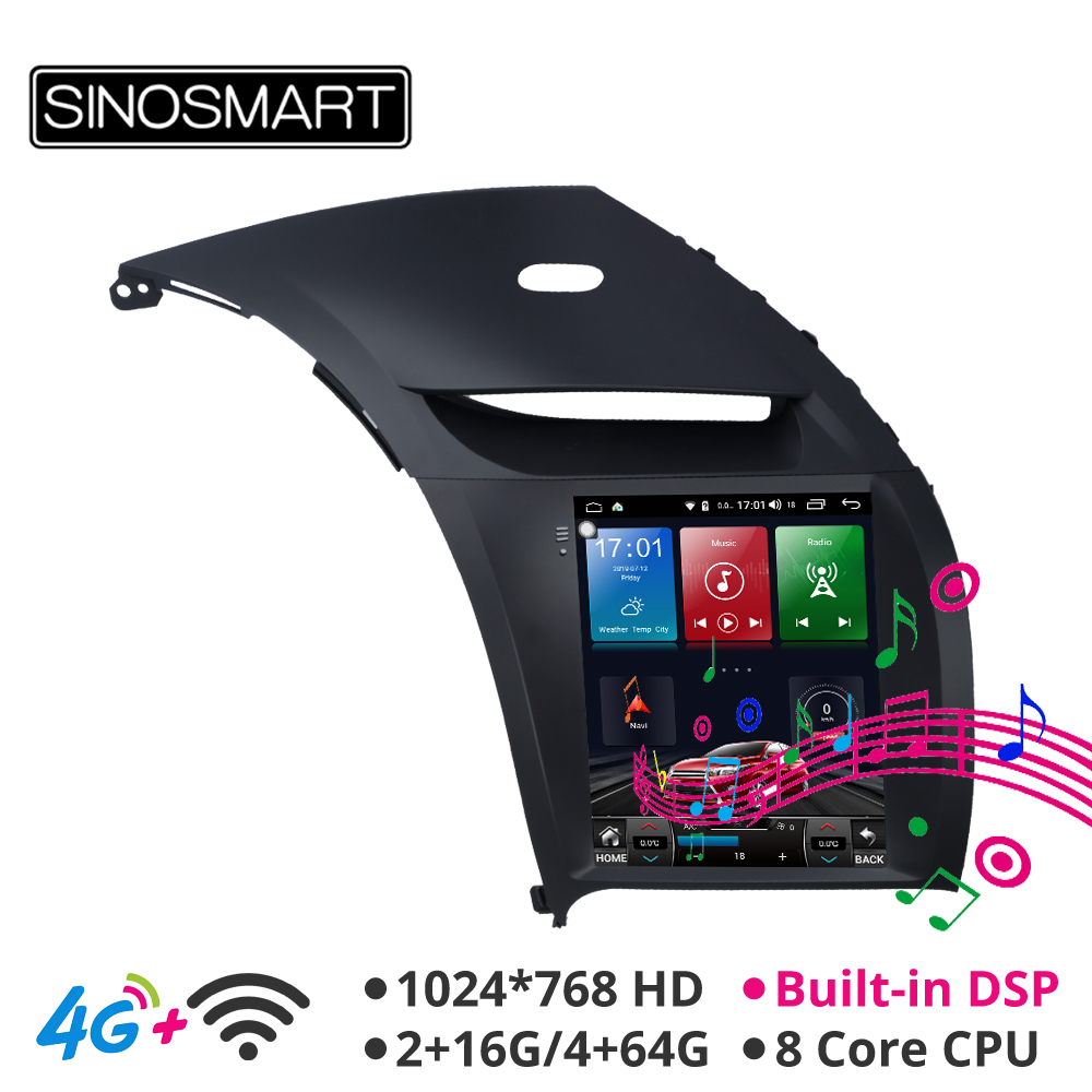 Sinosmart Android 8.1 Tesla style Vertical HD screen car gps multimedia radio navigation player for Kia K3 Cerato Forte 2013-18 image