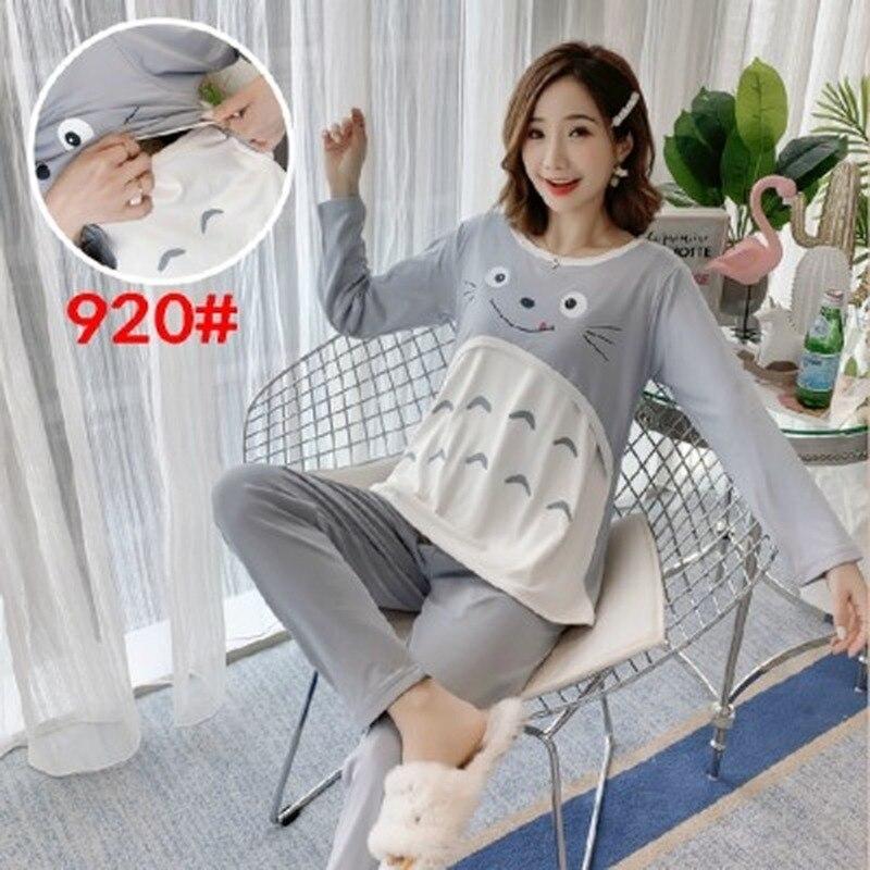 conjunto de pijamas para mulheres primavera terno gravida adoravel roupa de amamentacao manga longa pijamas de