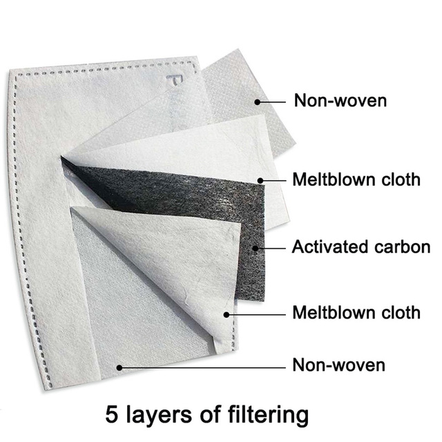 10PCS PM2.5 Mask Filter Paper 5Ply Anti Dust Mouth Face Mask Carbon Cotton Disposable Filter Protective For Adult Kids Child 1