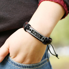 Creative Scalable Letter Bracelet braided leather bracelet for men cuff jewelry for women punk  wristband men in charm