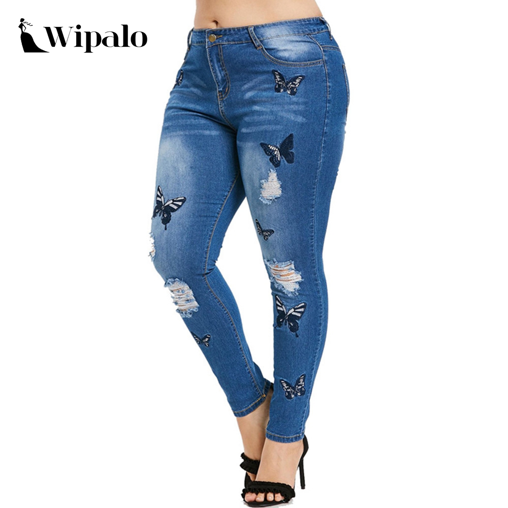 Wipalo Plus Size Butterfly Distressed Embroidered Jeans Women Pant Skinny High Waist Pencil Pants Denim Jean Ladies Trousers 5XL