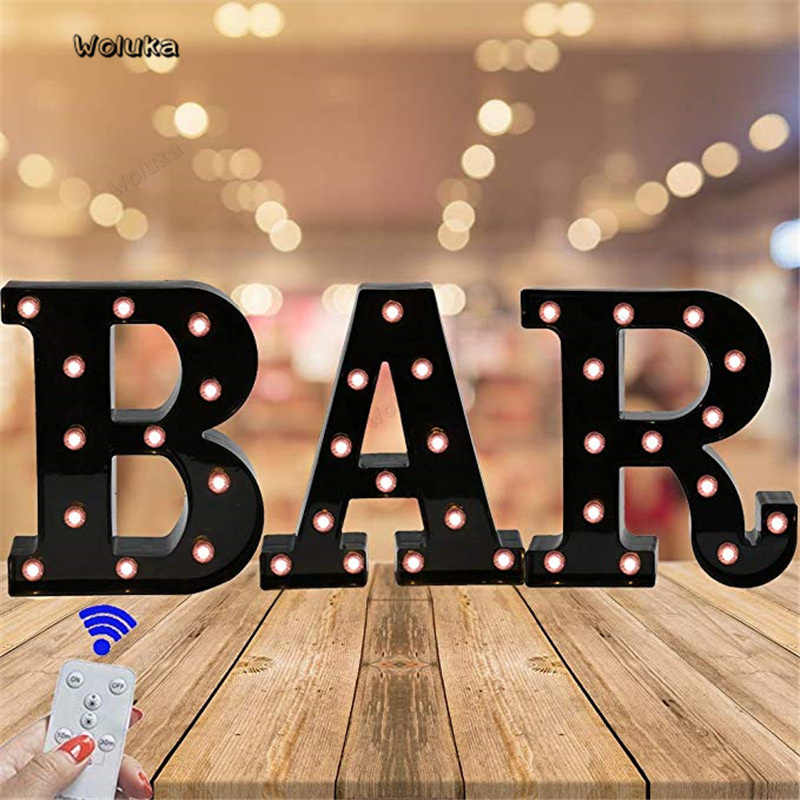 Black Plastic Letter LED 26-Letter Night Light Marquee Sign Alphabet Light Lamp Home Club Party Wedding Home Decoration CD50 W05