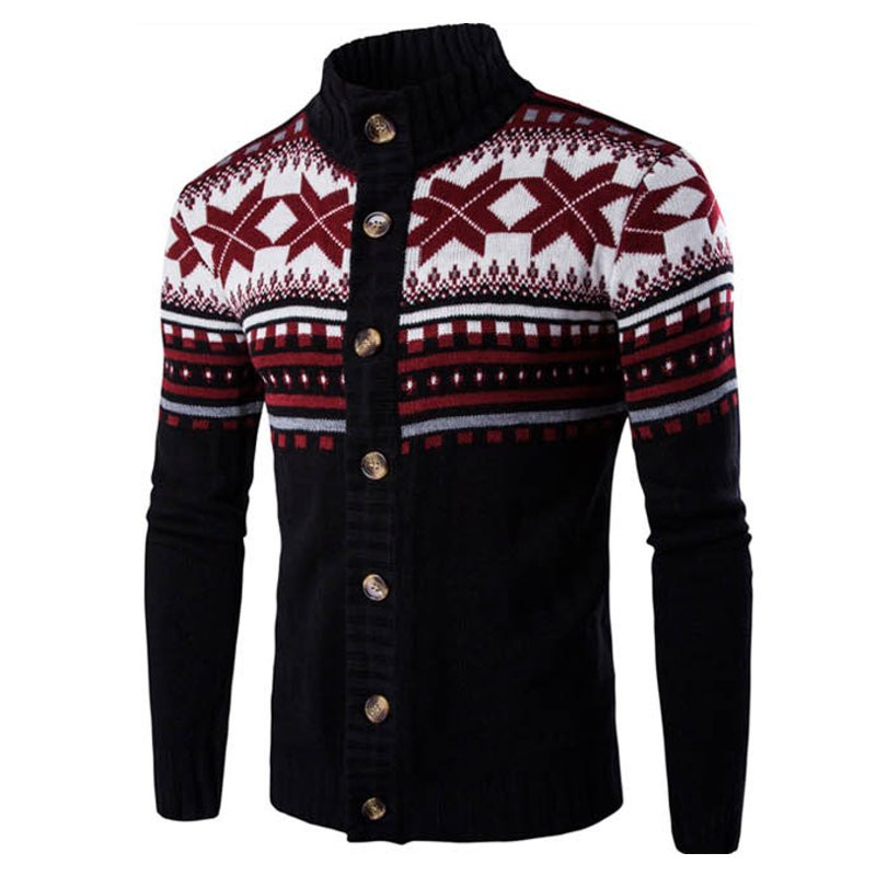 Winter Christmas Style Mens Sweater Printed Warm Vintage Long Sleeve Streetwear Button Knitted Sweaters Men Pullover