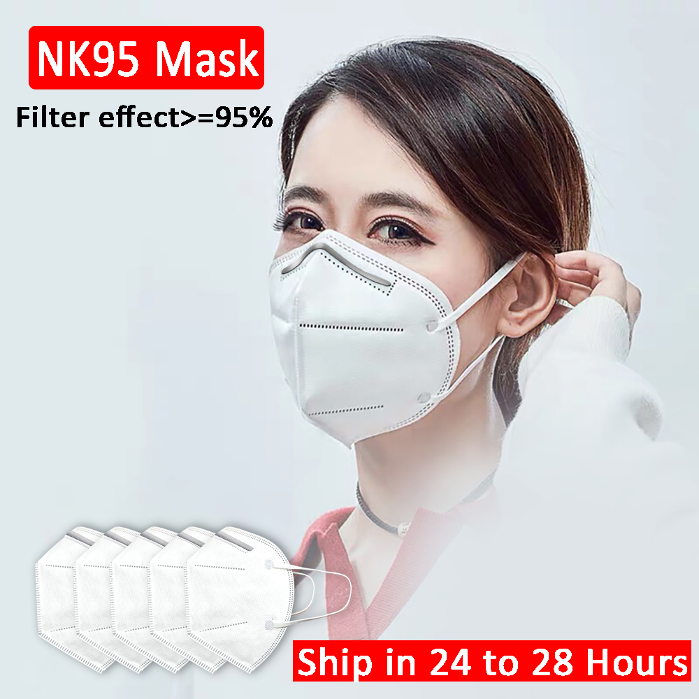 50pcs Safety NK95 Protective Mask 5 Layers Non Woven Disposable Face Masks Anti Dust PM2.5 Air Pollution >=95% Shield For Mouth