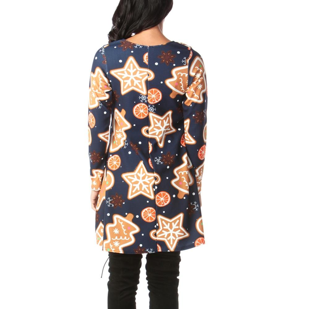 Print Long Sleeve Autumn Winter Christmas Dress Women 19 Casual Loose Short Party Dress Plus Size S-5XL Vestidos 18