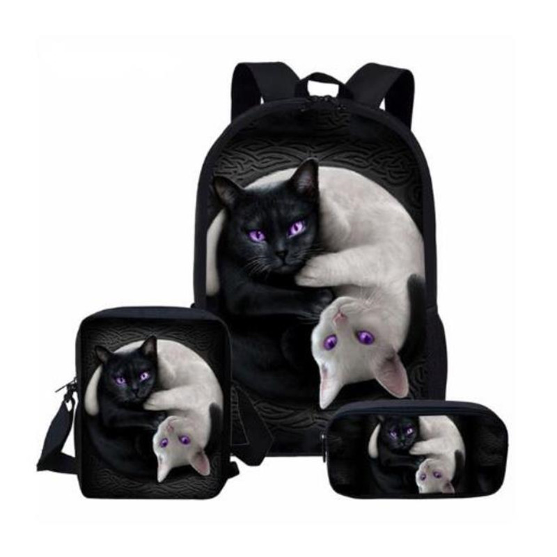 3Pcs/Set School Rucksack Children Backpack 16 Inch Gothic Moon Phase Black Cat Print Large Capacity Schoolbag For Teenager Girls