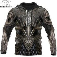 Мужская толстовка с 3d принтом в стиле «рыцарь» капюшоном куртка