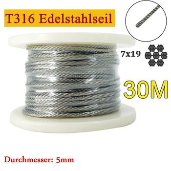 30M Steel Stainless Steel Wire Rope 4mm 7 X19 Coated Flexible Stainless Steel wire rope Steel Wire Rope Hanging Clothing cable Railing, DE