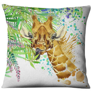 Image 3 - Hand painted Watercolor Printed Linen Cushion Cover  Animals Plants Flamingo Giraffe Throw Pillowcase Home Decor Sofa Decoration