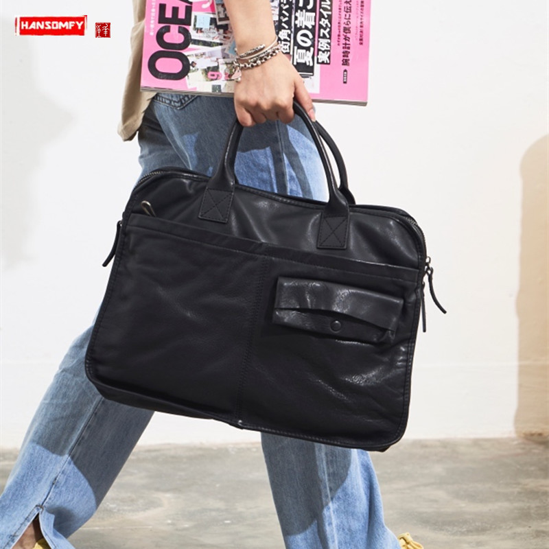 Original New Genuine Leather Women Handbag Laptop Bag Briefcase Female Shoulder Crossbody Bag First Layer Leather Messenger Bags