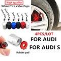 4 шт., алюминиевые колпачки на стержни клапана автомобильной шины для Audi S Line RS S3 S4 S5 S6 S8 RS3 RS4 RS5 RS6 A3 A4 A5 A6 A8, аксессуары