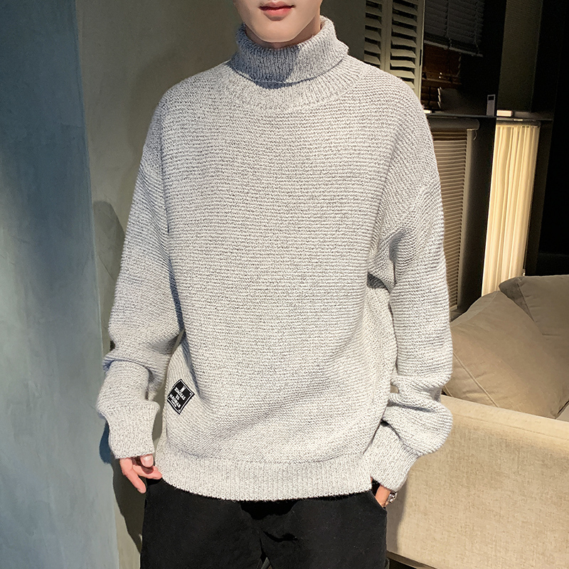 Winter Turtleneck Sweater Men Warm Fashion Solid Color Casual Knit Sweter Men Streetwear Loose Long Sleeve Pullover Man Clothes