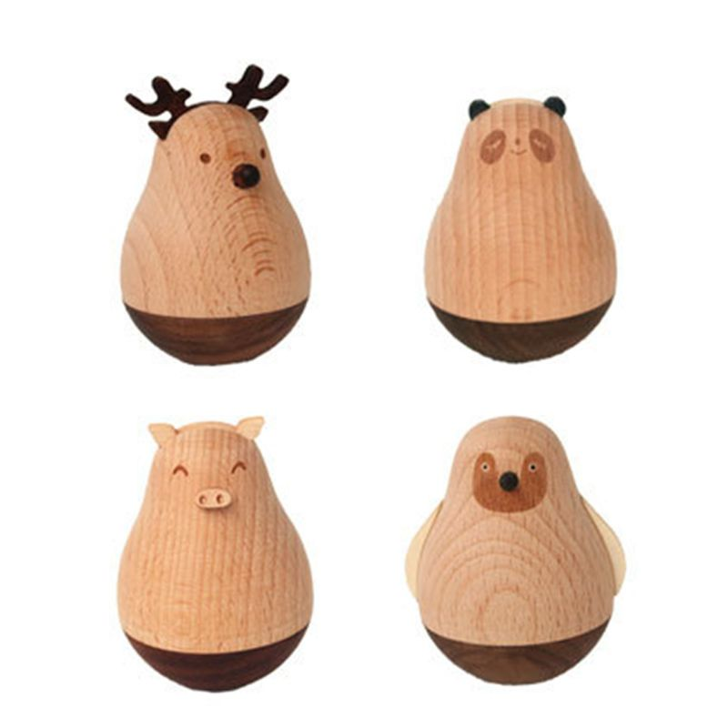 Cartoon Wooden Tumbler Doll Toy Desk Ornament Birthday Gift Fairy Garden Decoration Accessory