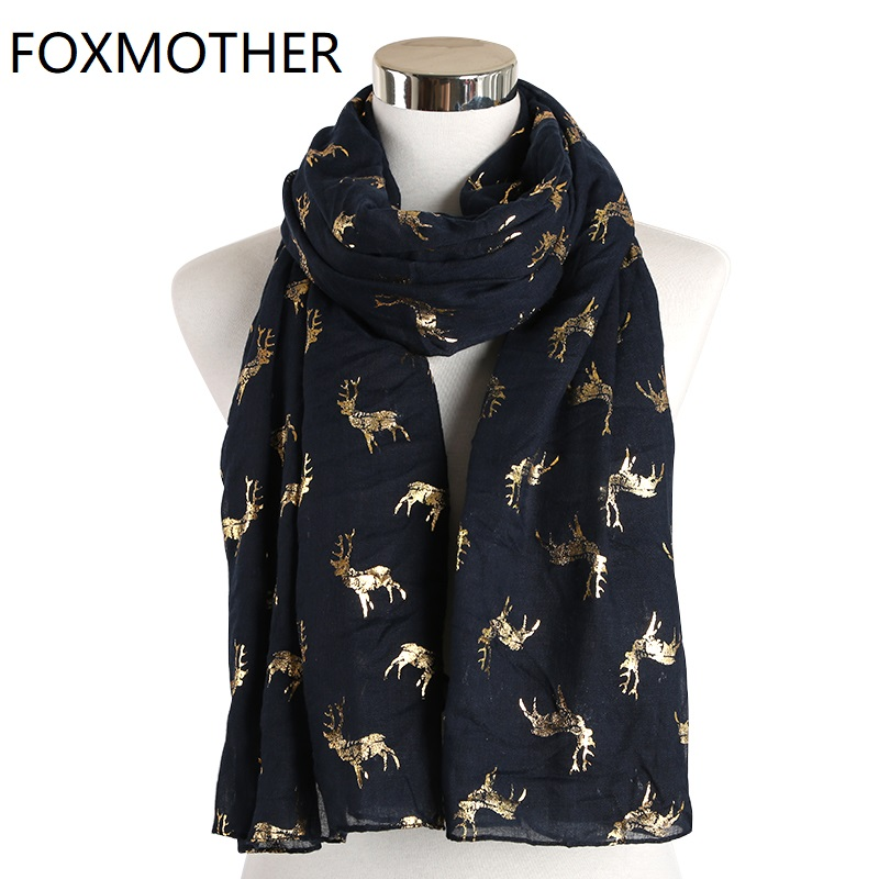 FOXMOTHER New Lightweight Navy Moose Stag Gold Foil Scarf Glitter Shawl Wrap Christmas Scarves Ladies Women