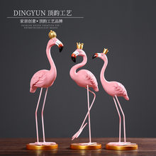 Scandinavian Minimalist Queen King INS Flamingo Resin Crafts European Style Decoration Home Decoration Birthday Gift(China)