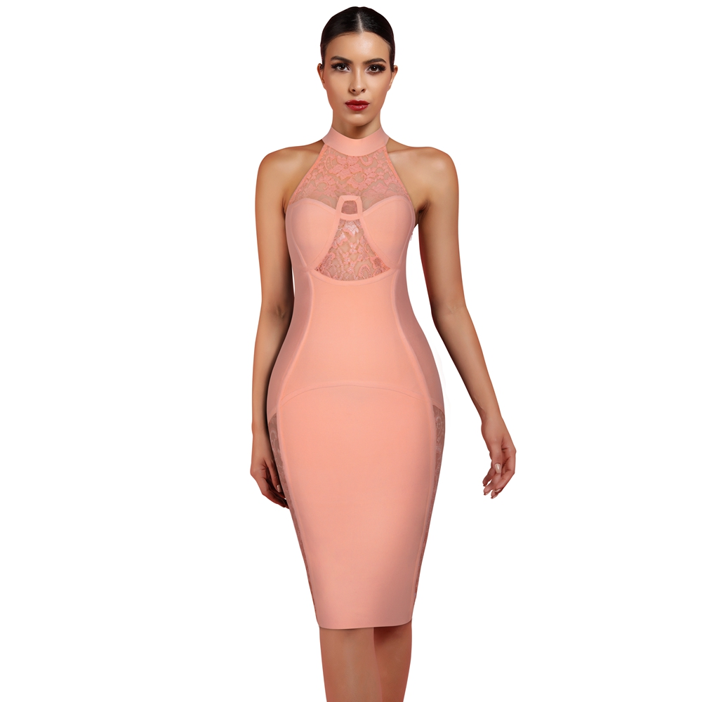 Ocstrade High Fashion Women 2020 New Summer Halter Bandage Dress Light Orange Sexy Lace Bandage Dress Bodycon Party Club Dress