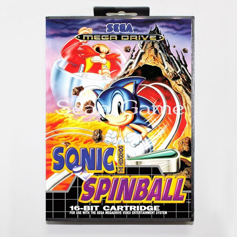 Elevata prestazione 16 Bit MD Game Card for Sega Mega Drive Sonic Spinball Cover With Retail Box