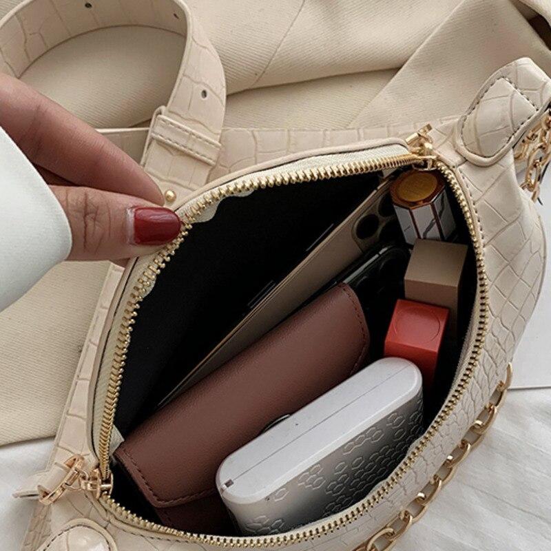 Crocodile Pattern PU Leather Shoulder Bags For Women 2020 Elegant Handbags Lady Travel Fashion Chain Chest Waist Bag W017