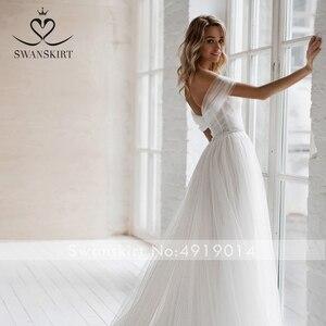 Image 5 - Swanskirt חוף קריסטל חתונה שמלת 2020 כבוי כתף אשליה אונליין מתוקה נסיכת הכלה שמלת Vestido דה novia NR12