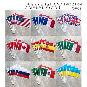14x21cm 5pcs American USA France French United Kingdom Hand Held Stick Flags Canada Spain Italy Russia Mexico Ukraine Hand Flag