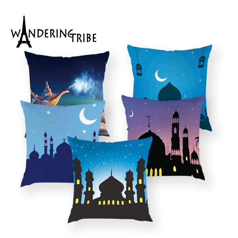 Islamic Eid Mubarak Decorations for Home Party Decor Ramadan Decor Sofa Polyester Muslim Mosque Decorative Pillow Case 45X45CM
