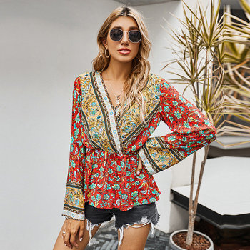 Vintage Print Blouse Top Women Casual V Neck Fashion Holiday Shirt Autumn Slim For 2020 New