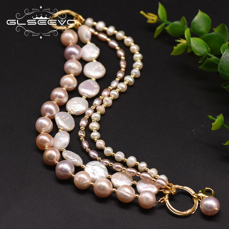 GLSEEVO Original Design Natural Fresh Water Pearl Multilayer Bracelet For Women Party Birthday Jewelry Accesorios Mujer GB0189
