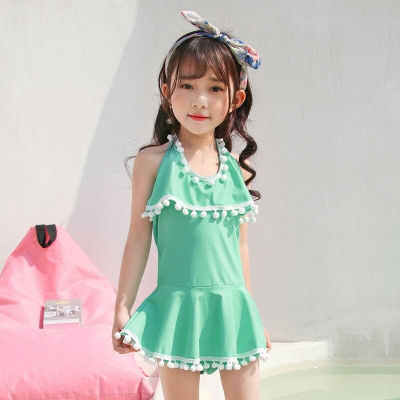 Girl'S Swimsuit Children One-piece Princess Dress-Pants Big Boy South Korea GIRL'S-Style Hot Springs Tour Bathing Suit