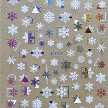 3D Stickers for Nails Color Snowflake Geometric Line Nail Sticker Foil Decals Nail Art