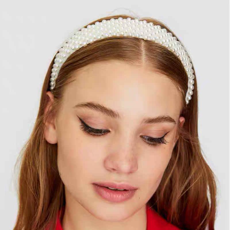 JUST FEEL 2019 perles bandeaux élégant bandeau femmes large à la main mode cheveux accessoires élégant chapeaux partie cheveux cerceau