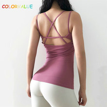 Colorvalue Back Cross Slim Fit Yoga Fitness Vest Top Women Breathable Padded Training Gym Sleeveless Shirts with Removable Pads