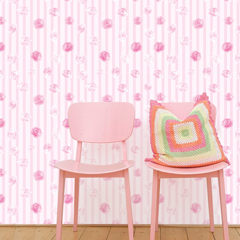 Sweet Pink Rose Flowers Wallpapers For Living Room Girl Bedroom Dormitory House Decorations 3D PVC Self Adhesive Wall Paper