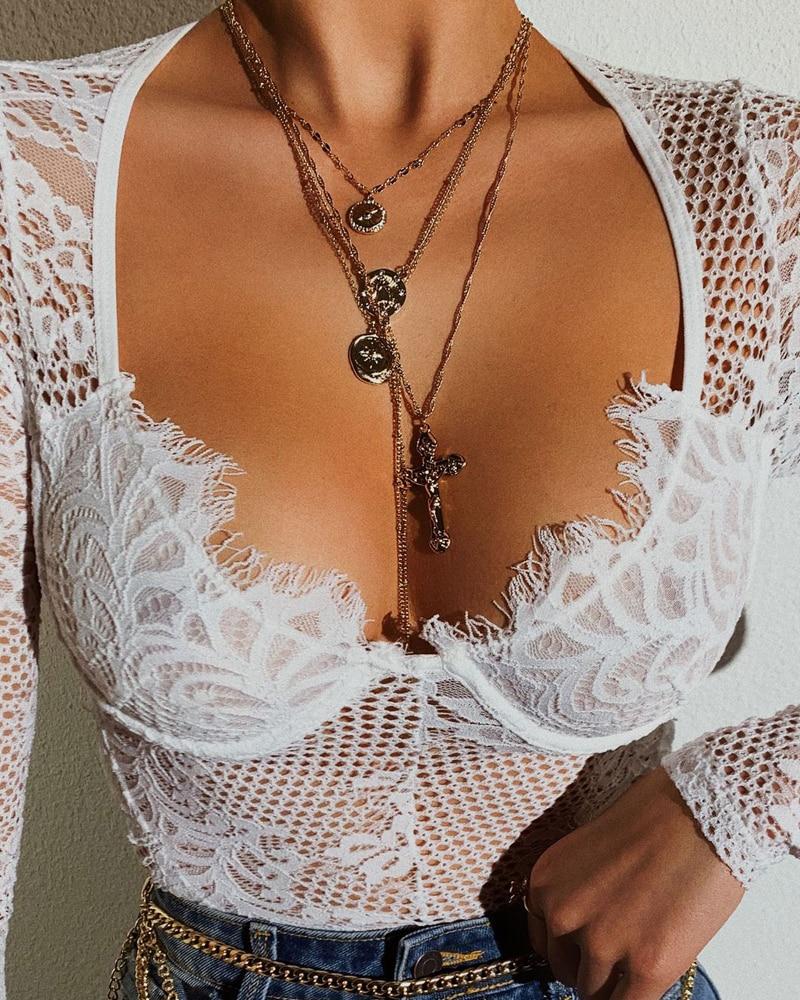 Sexy body dentelle maille évider