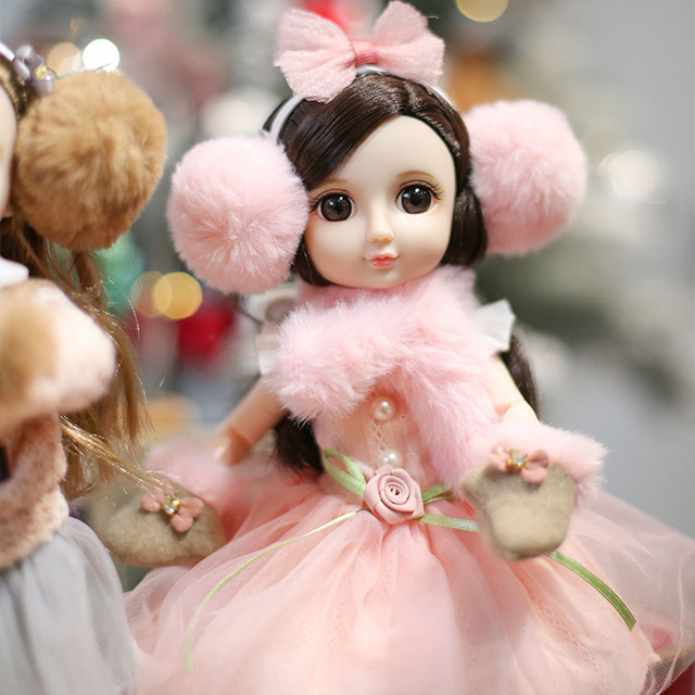 30CM BJD Doll 15 Ball Joints Bjd Dolls With Winter Outfits Dress Girl Princess Gift Make up Girls DIY BJD Toys Best Gift for Kid 2