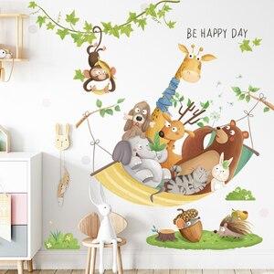Cartoon Giraffe Wall Stickers for Kids rooms Kindergarten Wall Decor Self-adhesive Vinyl PVC Wall Decals for Nursery Home Decor
