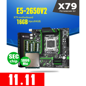 Image 1 - HUANAN ZHI X79 ZD3 Motherboard M.2 NVME MATX With Intel Xeon E5 2650 V2  2.5GHz CPU 4*4GB = 16GB DDR3 1866MHZ ECC/REG RAM