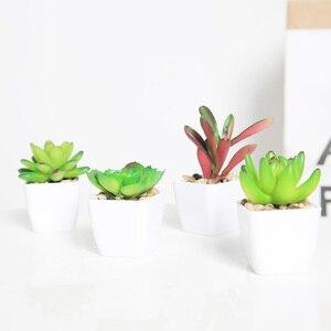 Image 2 - Erxiaobao 냄비 시뮬레이션 succulents와 사랑스러운 인공 식물 미니 분재 화분 배치 녹색 가짜 식물 테이블 장식