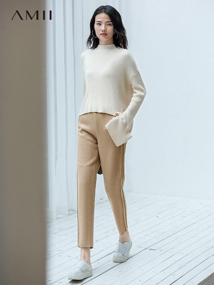 Amii Autumn Winter Women Casual Pants Female Solid Loose High Waist Straight Pants 11920283