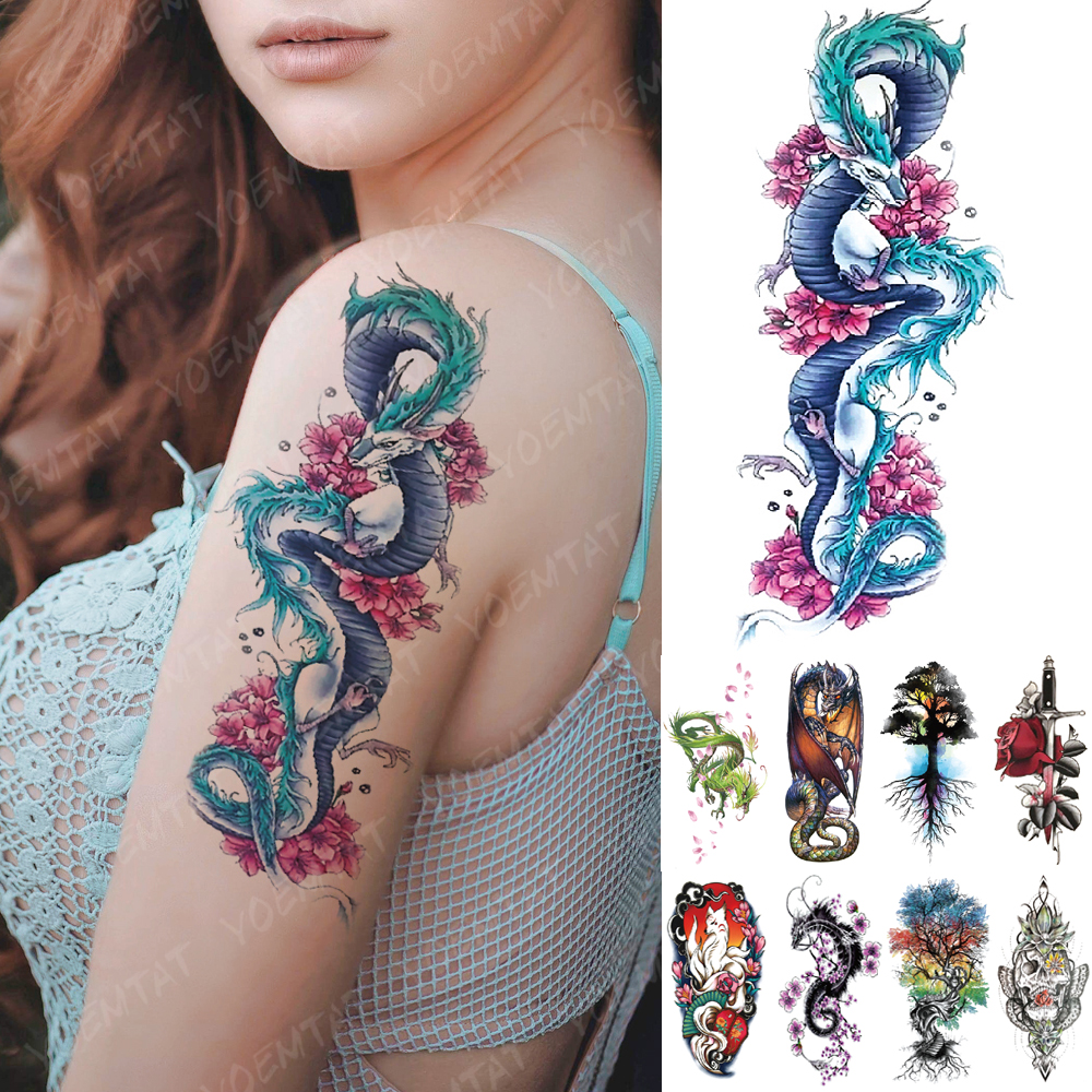 Waterproof Temporary Tattoo Sticker Blue Ice Dragon Plum Blossom Flash Tattoos Family Tree Fox Body Art Arm Fake Tatoo Women Men