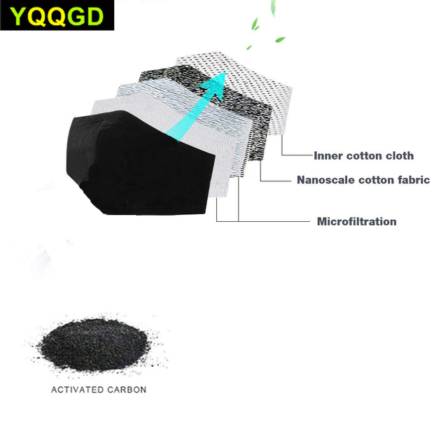 1Pcs Multi Color Cotton Black mouth Mask Activated carbon filter Windproof Mouth-muffle 5
