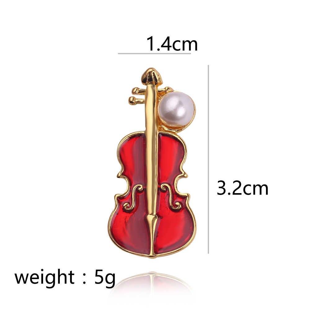 Elegan Bros Simulasi Mutiara Biola Bentuk Enamel Pin Lapel Pin Aksesoris Pakaian Fashion Perhiasan Hadiah untuk Wanita