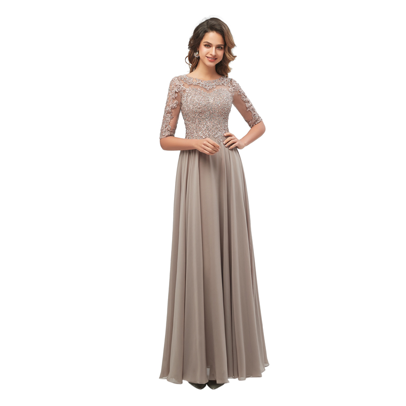 Lace Applique Beaded Mother Of The Bride Dresses Elegant Half Sleeves Long Chiffon Evening Formal Maxi Dress