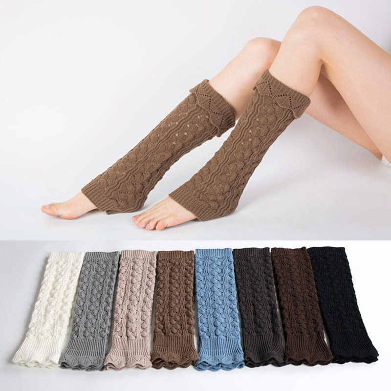 Womens Winter Hollow Crochet Knit Leg Warmers Cuffs Boot Socks Solid Color Coffee White Black Gaiters Covers Boot Toppers