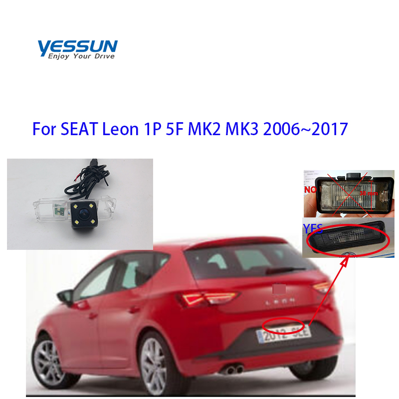 Yessun CCD Rear View Camera For SEAT Leon 1P 5F MK2 MK3 2006~2017  Parking Reverse Backup 4 LED CAMERA Car License Plate
