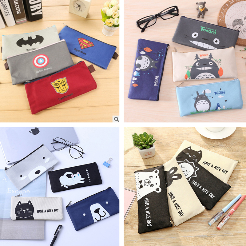 Superhero Canvas Pencil Case Creative Kawaii Totoro Office Student  Zipper Pencil Bag School Supplies Stationery Cute Gift