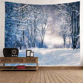Snow Scenery Tapestry Wall Hanging Snow Forest Print Living Room Decor