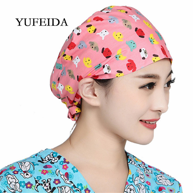 Woman Surgical Caps Print Adjustable Unisex Lab Hospital Doctor Operation Scrub Surgery Caps Nurse Cotton Printing Surgical Hats