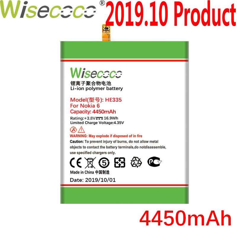 WISECOCO 4450mAh HE335 Battery For Nokia 6 Nokia6 N6 TA-1000 TA-1003 TA-1021 TA-1025 TA-1033 TA-1039 Phone With Tracking Number